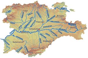 Mapa de localización de los principales afluentes del río Duero