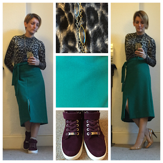 Warehouse midi skirt with trainers and heels