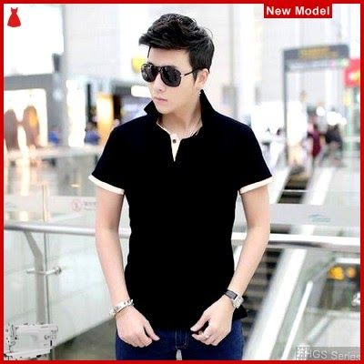 FHGS9192 Model Collar Shirt Black, Berkerah OT Kaos Pria BMG