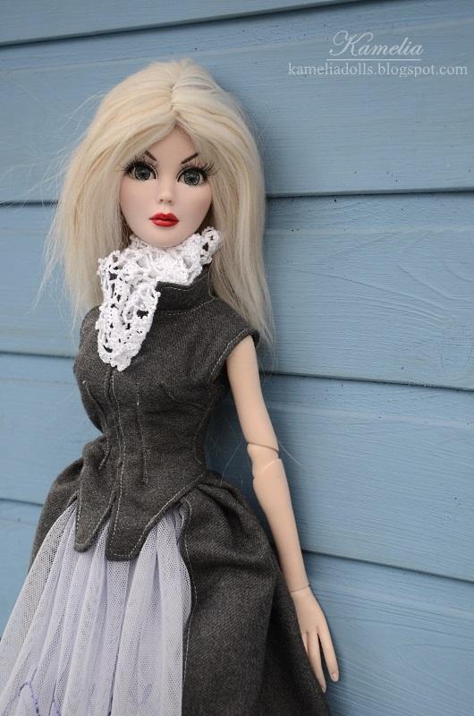 Handmade grey coat for Evangeline doll