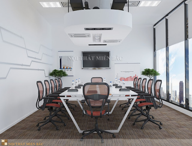 Thiết kế thời thượng, mạnh mẽ kết hợp cùng sắc trắng ngọt ngào, tinh khôi tạo nên nét đối lập đầy ấn tượng cho chiếc bàn phòng họp cao cấp