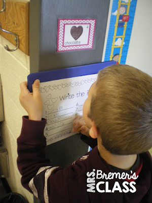 Valentine's Day write the room literacy activity center