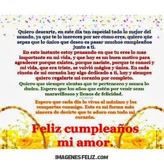 Feliz Cumpleaños carta para mi novio desde el corazón