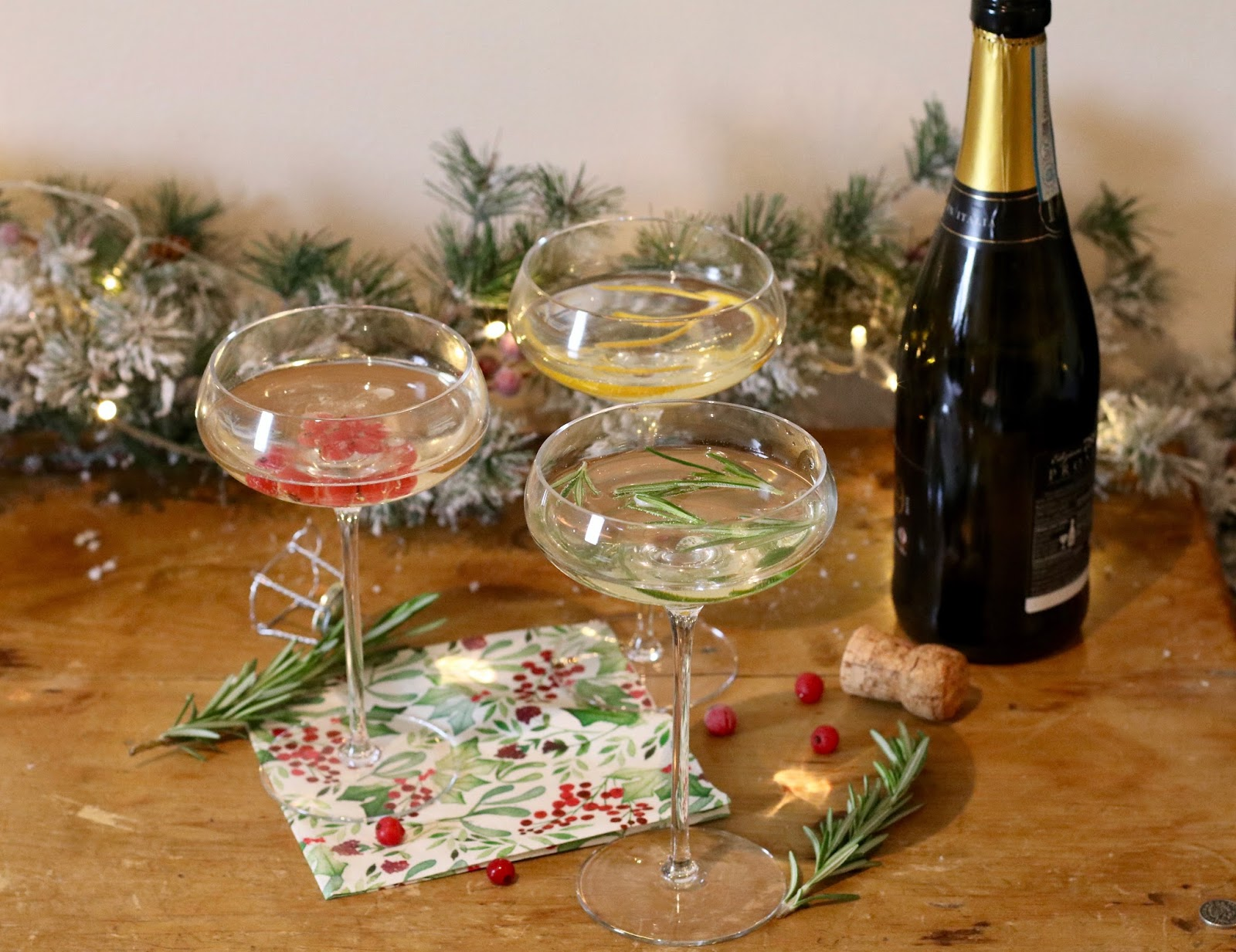 Festive-prosecco-Christmas-red-currants-orange-peel-rosemary
