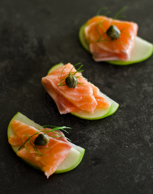 Apple, Salmon and Capers hors d'oeuvres