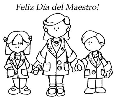COLOREA TUS DIBUJOS: Dibujo de una Maestra con sus Alumnos ...