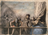 Sideshow. Reverse: Sketch of a Man's Head by Honore Daumier - Genre Paintings from Hermitage Museum