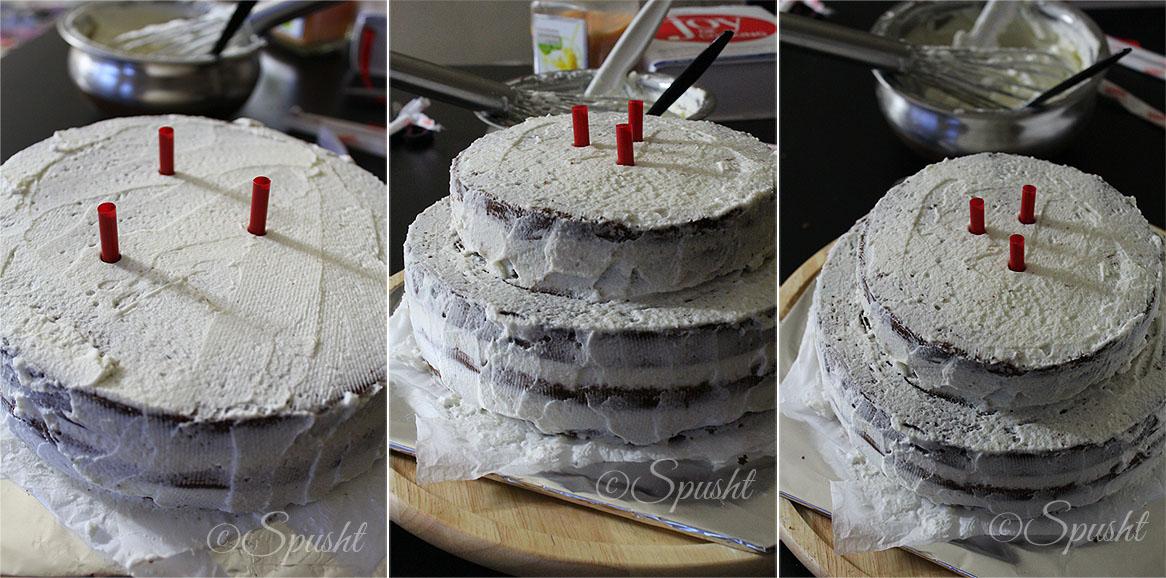 Assembling  Tier Fondant Cake
