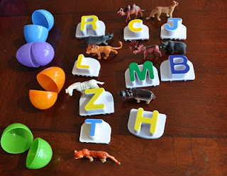 Match beginning letter sounds with plastic Easter eggs