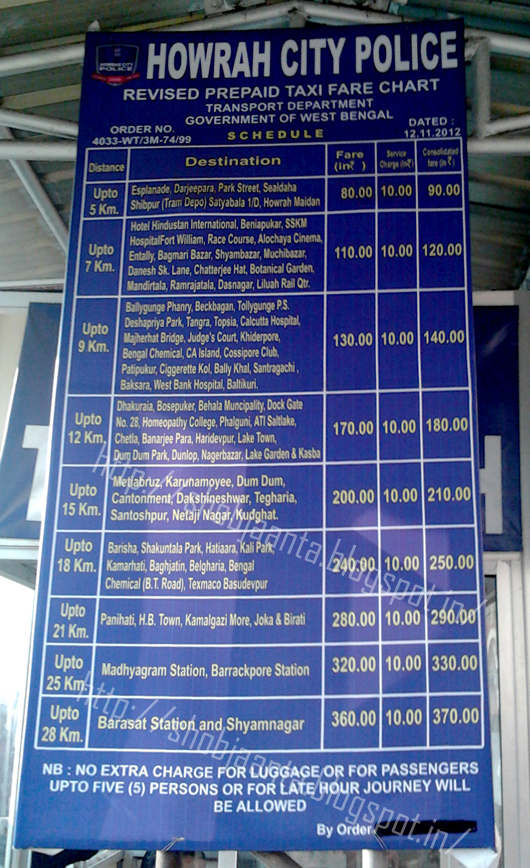 New Pre-Paid Taxi Rate (Fare) Chart From Howrah Junction in Kolkata