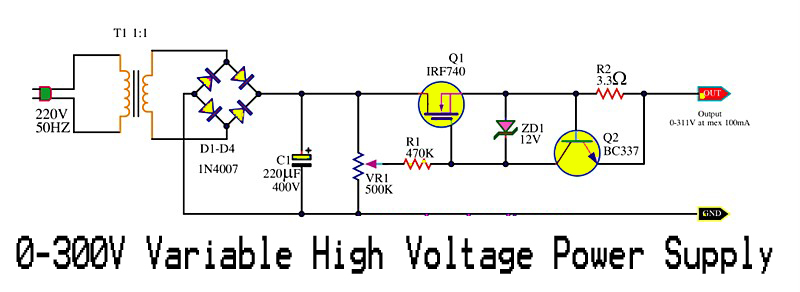 0 300v Variable High Voltage Power Supply Electronic Circuit