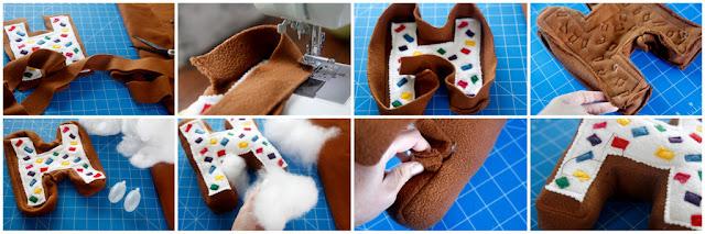 "Step-by-step making a monogram ""H"" sprinkle donut birthday stuffed dog toy"