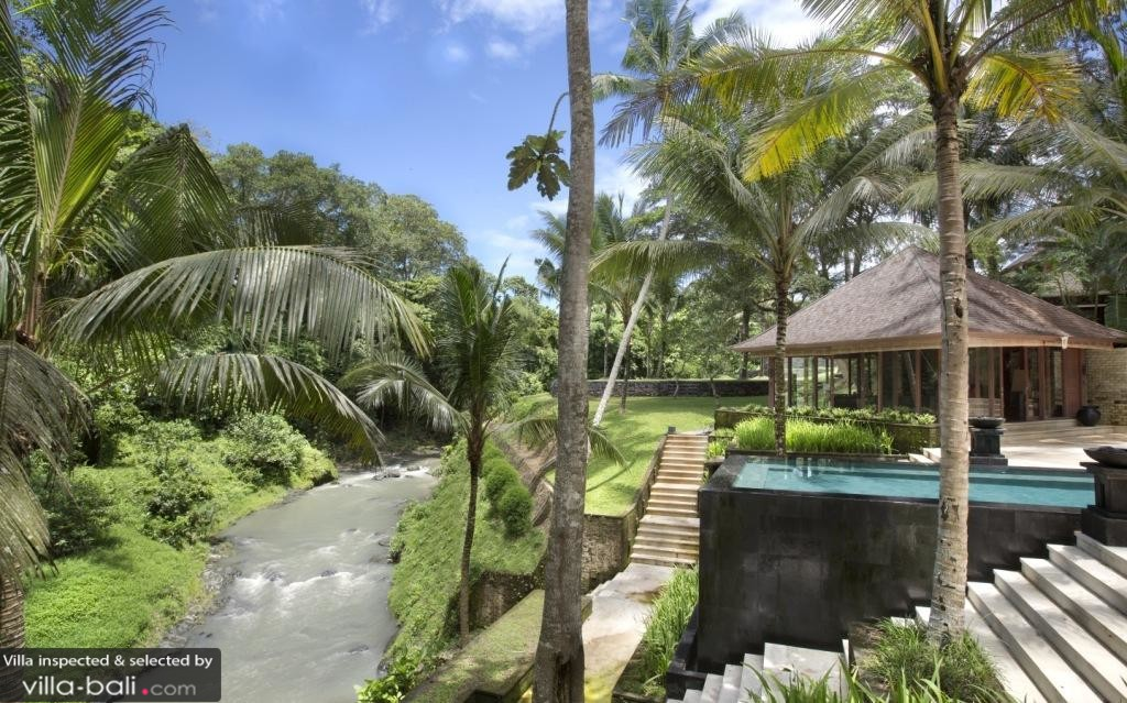 Luxury Bali Villa by River in Jungle