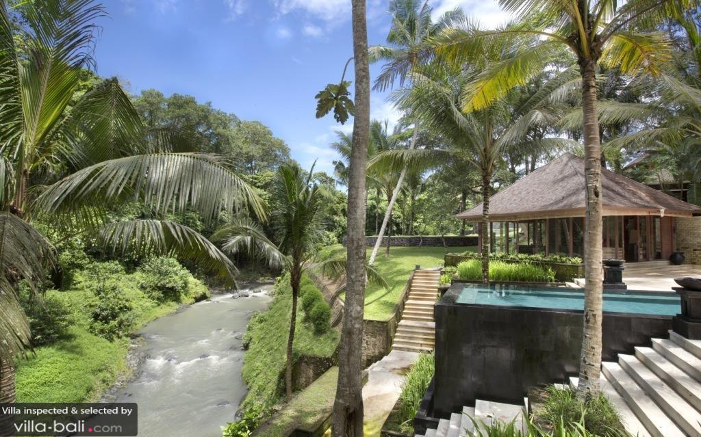 Luxury Bali Villa by River in Jungle