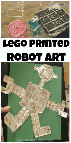 lego printed robot preschool art project