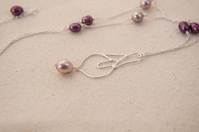handmade cala lily peace lily pendant soldered silver statement necklace pearl mauve light purple magenta wine pearl