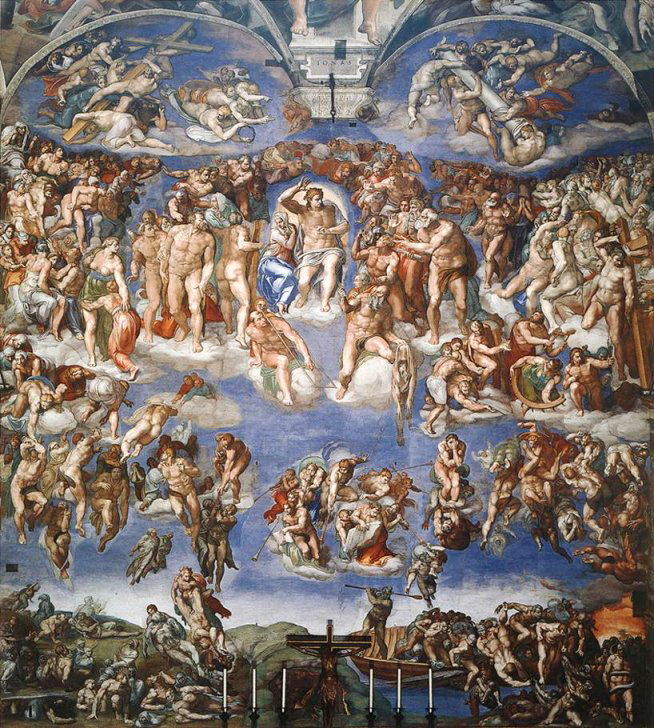 Michelangelo's 'Last Judgment' as seen above the altar inside the Sistine Chapel. Photo: WikiMedia.org.