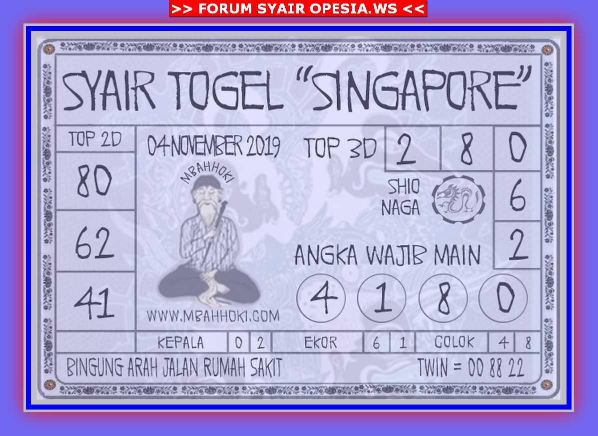 Kode syair Singapore Senin 4 November 2019 132