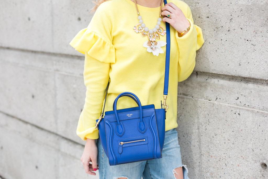 Bijuleni Yellow Ruffle Sleeve Sweater, Distressed Boyfriend jeans, leopard flats and Celine nano Handbag