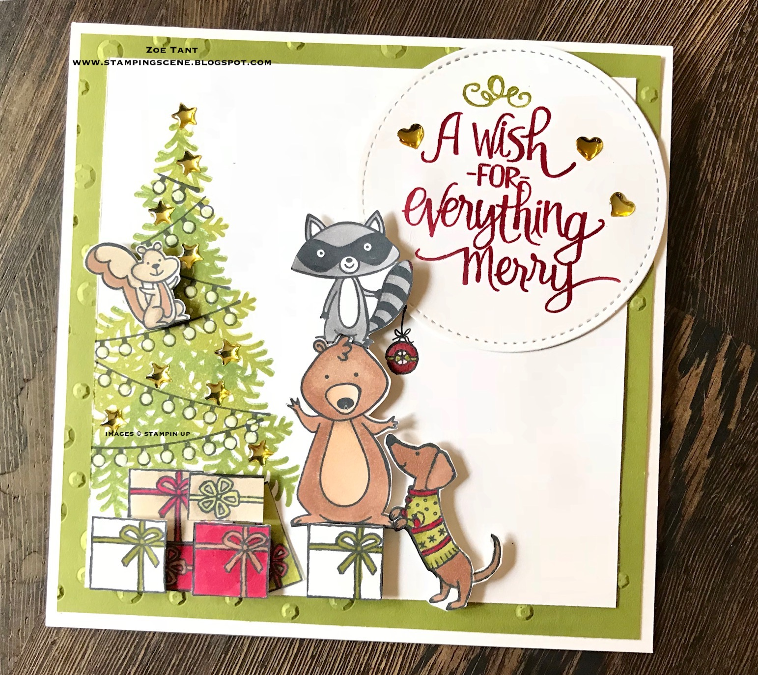 stampin up uk demonstrator independent supplier paper craft scrapbooking tutorials lincolnshire christmas card club challenge animals at christmas