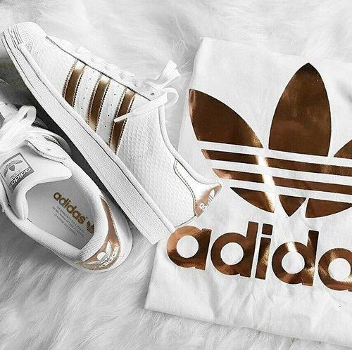 white + gold adidas sneakers