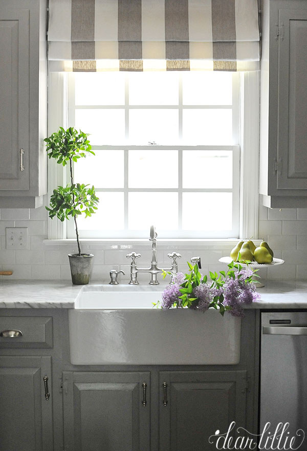 Roman Shade Over Kitchen Sink