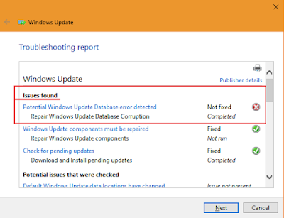 Solved: Potential Windows Update Database error detected