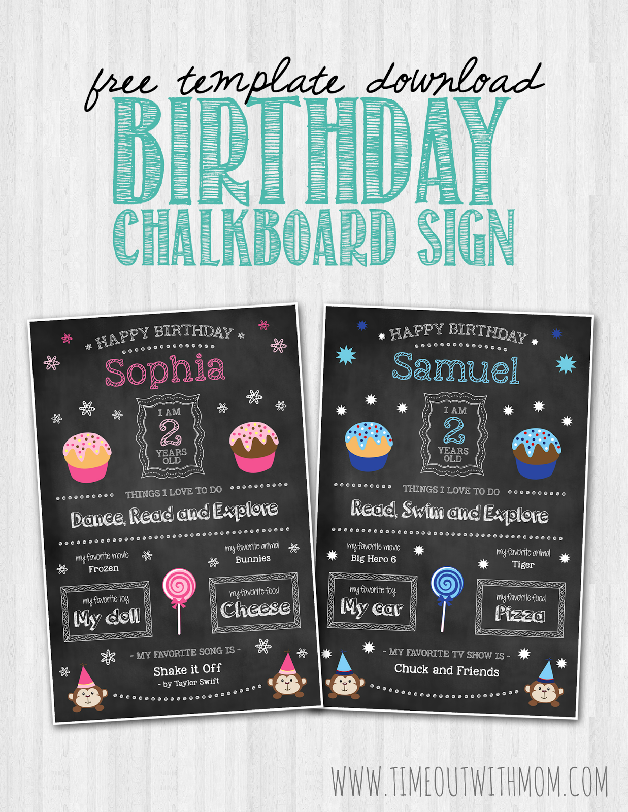 Birthday chalkboard sign template and tutorial for First birthday board template