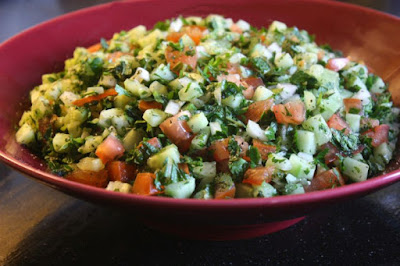 Chopped tomato cucumber onion with verjuice