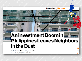 """Philippine  capital investment surge is leaving its neighboring countries in Southeast Asia behind This years first nine months shows net physical assets in the Philippinesgrowth of  10.4 % from the previous year. A big leap compared with Malaysia's 6.9 % increase and Indonesia's 5.8% percent gain.   Philippine government expenditures jumped 28 percent in October, the largest leap in almost a year, with new record budget planned for 2018. Private companies are also joining in: Metro Pacific Investments Corp. plans to invest as much as $16 billion through 2022 on road, water, and power projects, while Ayala Land Inc. is boosting capital spending to a record $2 billion next year.  President Rodrigo Duterte is building new railroads and highways across the archipelago in a $180 billion infrastructure program. The boost in investment adds another engine to the economy, paving a way for growth exceeding 6% and among the world's best performers for six consecutive years.  Sponsored Links After being left behind for decades, the Philippines is now significantly catching up and doing well. Now its growth in net physical assets is the fastest in Southeast Asia even twice faster than Malaysia according to World Bank.   President Duterte is on its way to bringing the Philippines into an upper-middle income country by the end of his term in 2022, and the cornerstone of his vision is a plan referred to as """"Build, Build, Build"""". It includes the capital's first subway and a 653-kilometer railway to the south.  Source: Bloomberg  Advertisement Read More:"""