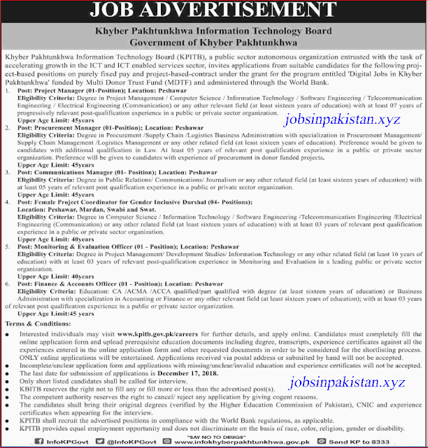 Advertisement for KPK Information Technology Board Jobs November 2018
