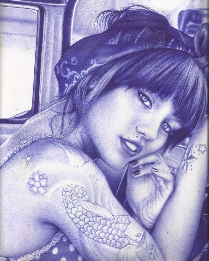 12-Koi-Fish-Tattoo-Sonia-Davel-Indelible-Ballpoint-Pen-Portraits-www-designstack-co
