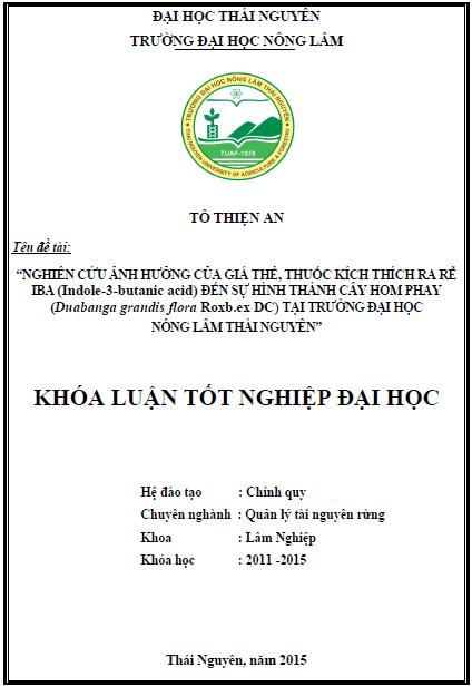 Nghiên cứu ảnh hưởng của giá thế, thuốc kích thích ra rễ IBA đến khả năng hình thành cây hom Phay (Duabanga grandis flora Roxb.ex DC) tại trường Đại học Nông Lâm Thái Nguyên