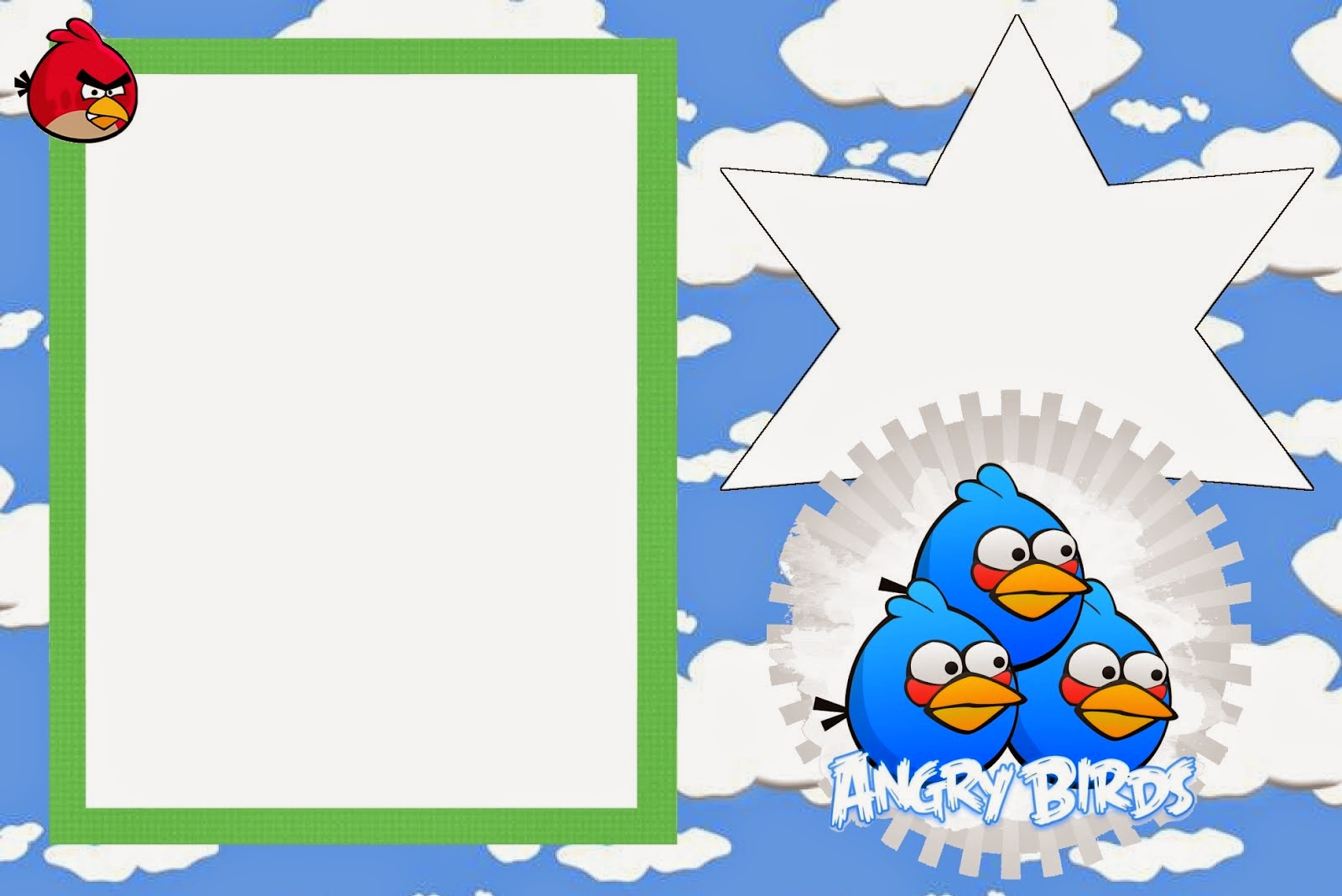 Angry Birds With Clouds Free Printable Invitations