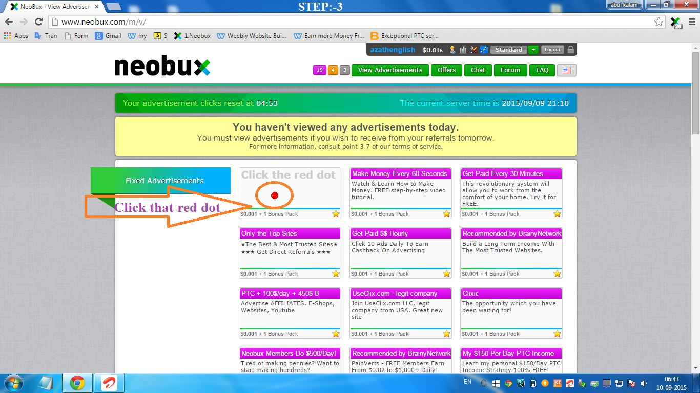 online job how to view advertisements in neobux paid to click how to view advertisements in neobux step 3