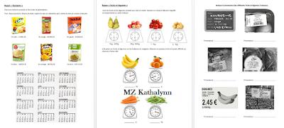 Dossier d'exercices mathématiques sur le supermarché (budget, courses, monnaie, ...)