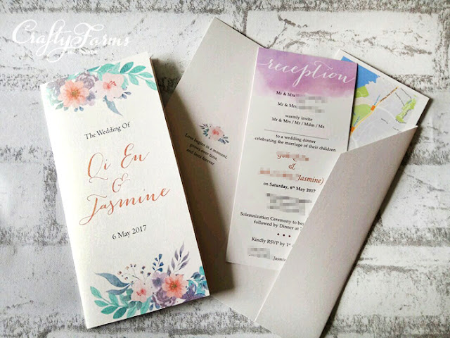 Lavender Purple Floral Pocket invitation cards at Peony Jade restaurant in Singapore