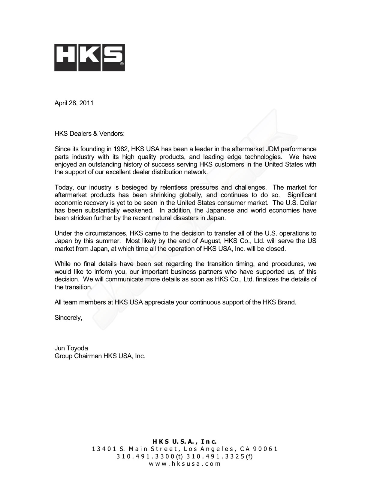 business letter closing hks usa closing shop 20736 | closingshopletterfromhks