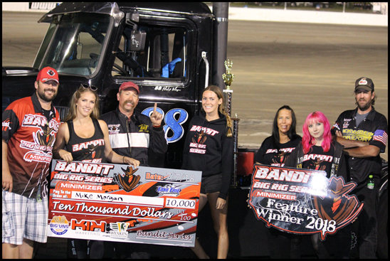 Bandit Mike Morgan (third from left) celebrates his a-main feature win at Lake Erie Speedway Saturday night