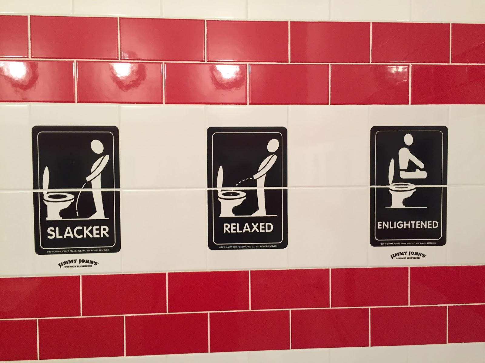 Jimmy Johnu0027s Has Funny Bathroom Art: Different Peeing Styles