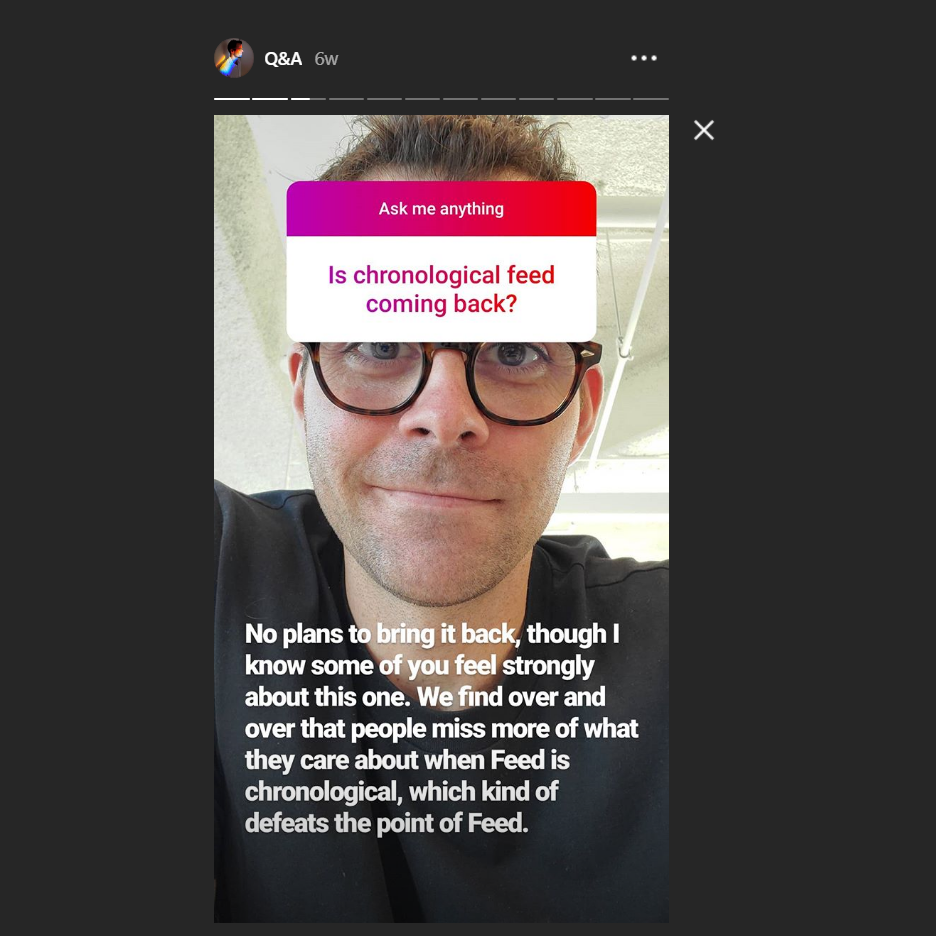 Adam Mosseri Answers Several Important Questions In An Instagram Story Digital Information World © formula 1 via getty images / instagram. adam mosseri answers several important