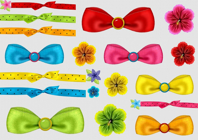 Enjoying the Swimming Pool: Flowers, Ribbons and Bow Clipart.