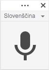 Pojavno okno za izbiro jezika in aktivacijo poslušanja