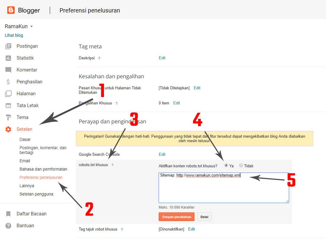 cara tambahkan sitemap pada robot.txt