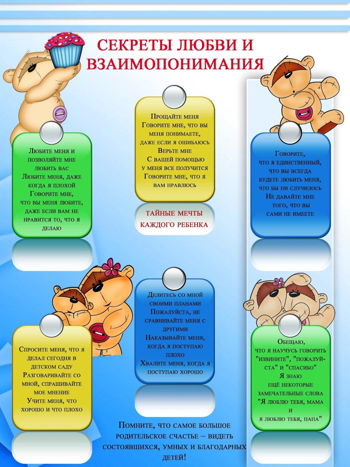 Советы родителям в детском саду в картинках