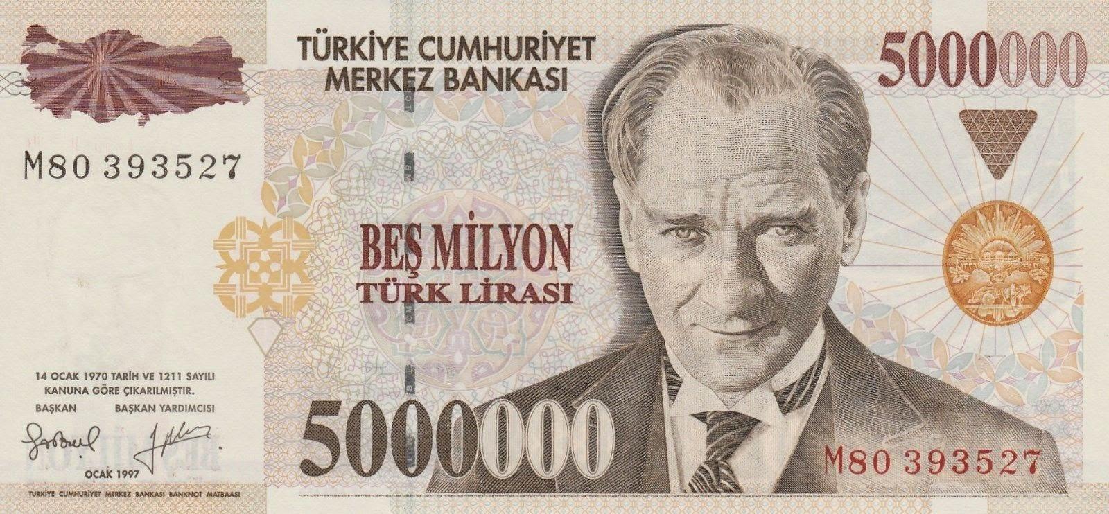 Turkey Banknotes 5 Million Turkish Lira Türk Lirasi note Mustafa Kemal Atatürk