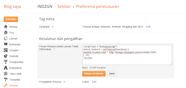 Cara Redirect Page Not Found Blogger ke Page Lain