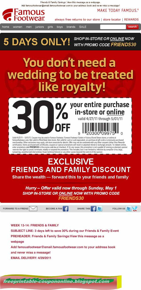 image about Shoe Department Printable Coupon identified as Famed shoes cupons / Columbus inside united states of america
