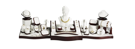White Faux Leather Jewelry Display Set