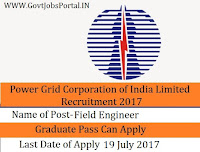 Power Grid Corporation of India Limited Recruitment 2017– Field Engineer